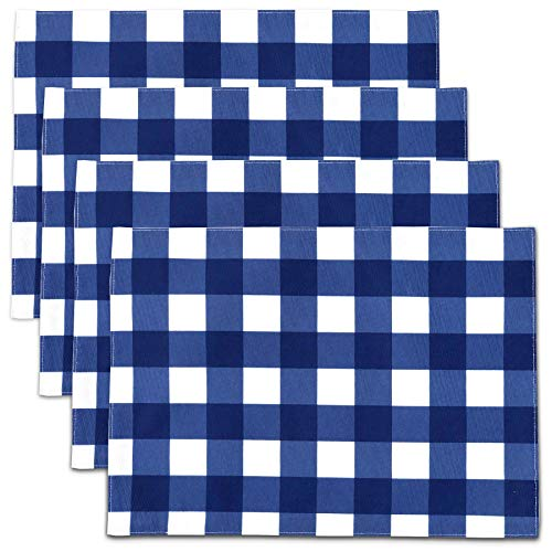 Blue White Gingham Checker Indoor Outdoor Stain Resistant Spill Bead Up Fabric Placemats 13