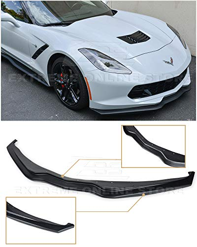 Extreme Online Store for 2014-2019 Chevrolet Corvette C7 | Z06 Z07 Stage 2 Style ABS Plastic Primer Black Front Bumper Lower Lip Splitter (New Black Lip)