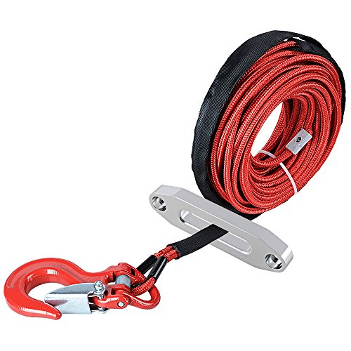 Astra Depot 50' x 1/4 RED Rock and All Heat Guard Synthetic Winch Rope Cable 7000LBS w/RED Heavy Duty Half-Linked Hook + Hawse Fairlead for Car ATV UTV Ramsey KFI