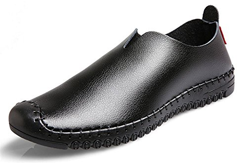 Hombres Hecho a mano Cuero Zapatos Pisos Suave Fondo Negocio Casual Respirable Negro marrón Black