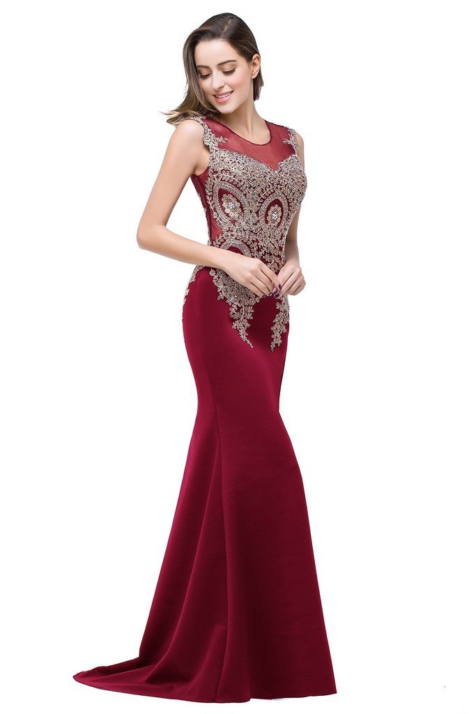 Babyonline Mermaid Style Evening Dresses Beaded Sheer Backless Long Formal Gowns