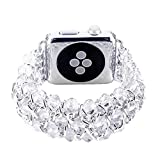 Kobwa 42mm Watch Band for Apple Watch, Handmade Retro Crystal Beaded Stretch Elastic Bracelet Replacement IWatch Strap Women Girls for Apple Watch Series 3, Series 2, Series 1 (White - 42mm)