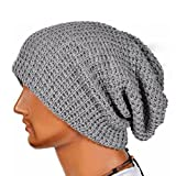 Laimeng Hat,Unisex Winter Warm Knit Ski Beanie Skull Slouchy Cap Hat (Gray)