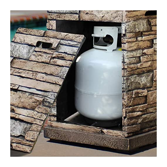 Bond Manufacturing 63172 Newcastle Propane Firebowl Column Realistic Look Firepit Heater Lava Rock 40,000 BTU Outdoor Gas Fire Pit 20 lb, Natural Stone - Make sure this fits                by entering your model number. Throw the ultimate s'mores party, host an outdoor date-night, tell spooky stories around the flame, or just enjoy a good book beside the inviting Newcastle Firebowl! 40,000 BTU heat output provides warmth and light - patio, outdoor-decor, fire-pits-outdoor-fireplaces - 51TR3dEAXoL. SS570  -