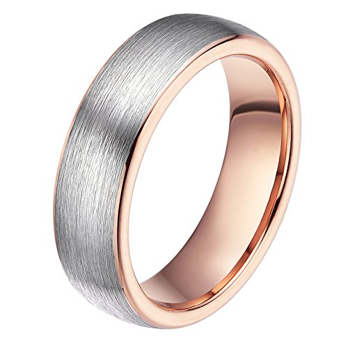 6mm Rose Gold Wedding Bands for Men Women Two Tone Brushed Tungsten Carbide Ring Comfort Fit Size 12 6mm Ladies Wedding Band