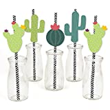 Big Dot of Happiness Prickly Cactus Party - Paper Straw Decor - Fiesta Party Striped Decorative Straws - Set of 24