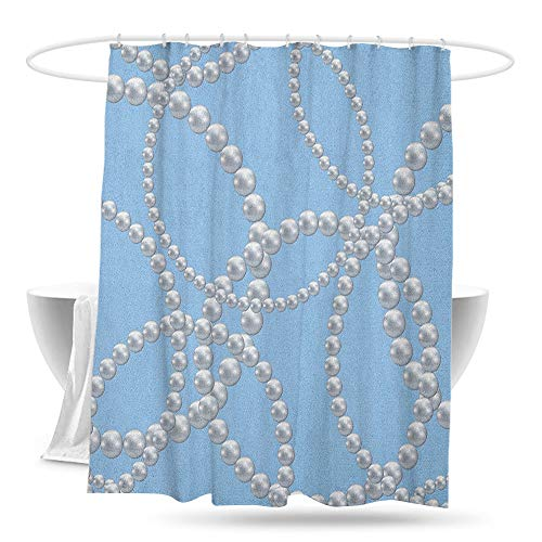 jifuhongmaoyi Large Shower Curtain Pearls Pearl Necklace Bracelet Classic Women Bridal Groom Shower Theme Feminine Art Waterproof Colorful Funny 70in×70in Baby Blue White (Football Bracelet State Classic)
