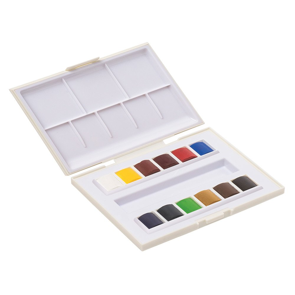 Sennelier La Petite Aquarelle Watercolor Paint Set - 24 Half Pan Plastic Tray With Elastic Hand Strap - Student Grade Watercolor Paint Set - [24 Half Pans] SAVOIR-FAIRE N131681