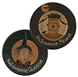 Halloweenie Meanie & Queenie Decorative Painted Wood Plate Set Witch Frankenstein Fall Decor