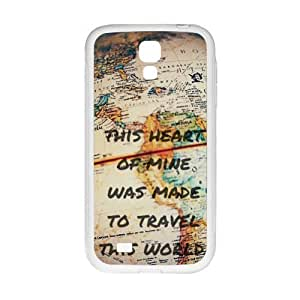 Slim And Stylish This Heart of Mine Was Made to Travel This World - Vintage World Map Pattern SamSung Galaxy S4 I9500 TPU(Laser Technology) Case Cover for White And Black