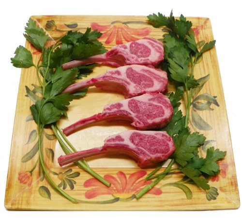 New York Prime Meat USDA Prime Fresh American Lamb Rib Chops, French Style, 1-1/4 thick, 4-Count, 20-Ounce Packaged in Film & Freezer Paper