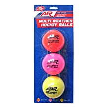 A&R Sports Low Bounce Multi Weather Street Hockey Balls (Pack of 3)
