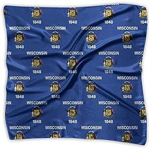 Womens Vintage Wisconsin Flag Pattern Print Square Handkerchiefs Bandanas Head & Neck Tie Scarf