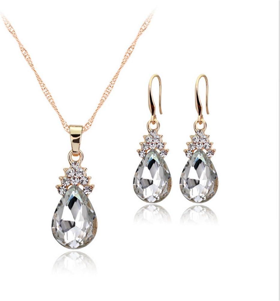 JUNGEN Joyería Elegante Conjunto para Las Mujeres, Pendientes de Moda y Collar con Forma de gotitas de Agua de Cristal y Mosaico de Piedras Preciosas (Blanco)
