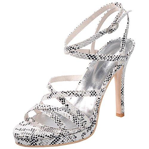 Loslandifen Donna Elegante Open Toe Serpente Cinturino Alla Caviglia Cinturini Tacchi Alti Scarpe Da Sposa Bianco Serpente Grano-a
