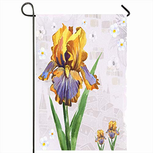 - Ahawoso Seasonal Garden Flag 12x18 Inches Flower Iris Nature Drawing Watercolor Cute Delicate Garden Lovely Design Home Decorative Outdoor Double Sided House Yard Sign