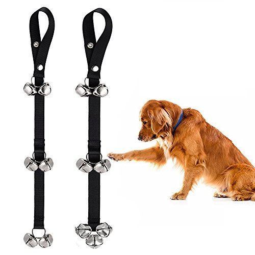 MiLuck Dog Doorbells for Dog Training and Housebreaking Adjustable Length Puppy Bell with Loud Bells,Housetraining Potty Training for Puppies Instructional Guide,Set of 2 Pcs