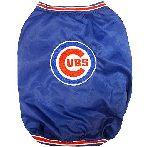Pet Dugout Dog Jacket - Pets First Chicago Cubs Dugout Jacket, Medium, Blue
