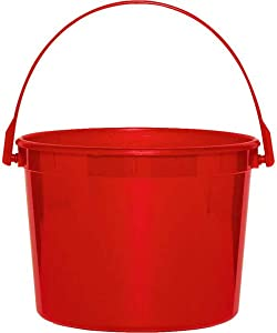 amscan Plastic Bucket | Apple Red | Party Accessory | 12 Ct, Multicolor (268902.4)