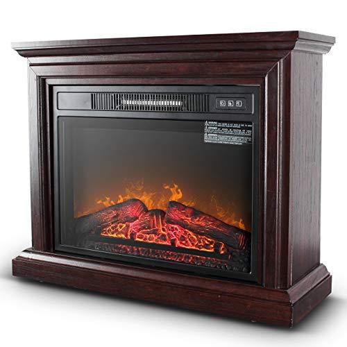Della 1500W Deluxe Infrared Quartz Fireplace Heater Flame Wood Log Caster w/ Remote, Oak Della Infrared Heaters