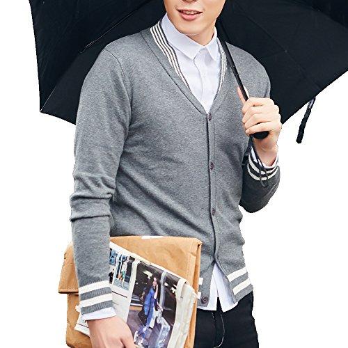 Men's Slim Fit Knitted Cardigan,Dark Grey,Medium