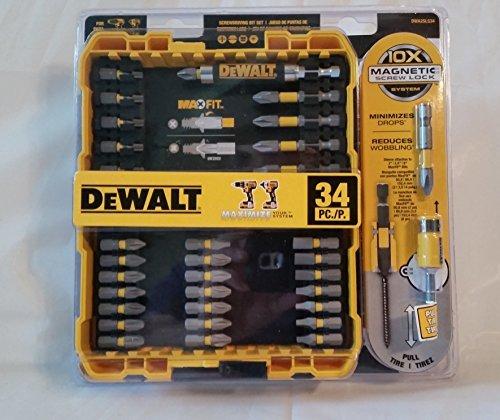 UPC 885911426657, Dewalt Max Fit DWA25LS34 34 Pc Screwdriving Bit Set Philips Standard Torx Square