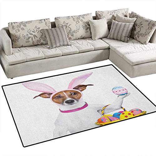 Easter,Carpet,Dog Dressed up as Easter Bunny Holding a Basket of Eggs Funny Animal Illustration,Area Silky Smooth Rugs,Multicolor Size:36