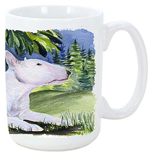 Bull Terrier Mug (Caroline's Treasures SS8266CM15 Bull Terrier Microwavable Ceramic Coffee Mug, 15 oz, Multicolor)