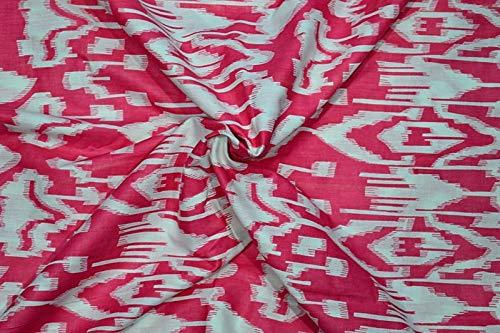 2.5 Yard Pink Ikat Printed Fabric Sewing Craft Dressmaking Cotton Fabric Indian