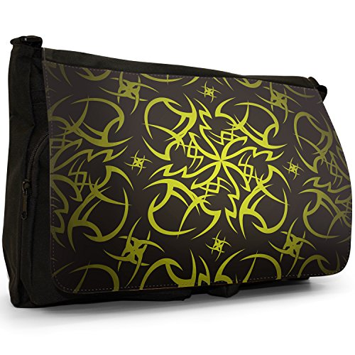 School Black Yellow Laptop Bag Canvas Cult Tribal Shoulder Tattoo Large Messenger ITwUnqSH8