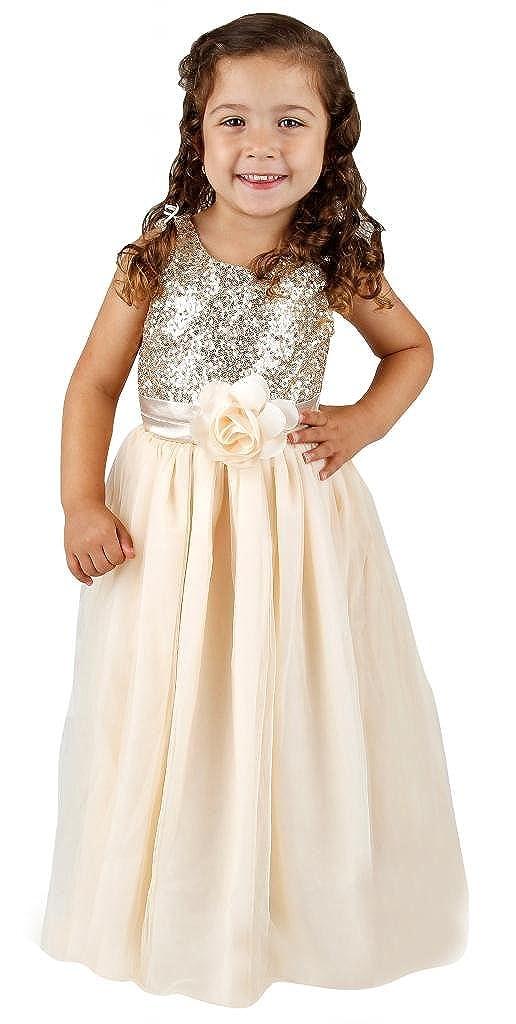 83202d02f Amazon.com: Bow Dream Flower Girl's Dress Sequins Tulle: Clothing
