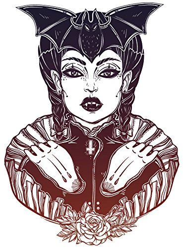 - Pretty Hipster Ombre Vampiress with Rose and Bat Vinyl Decal Sticker (4