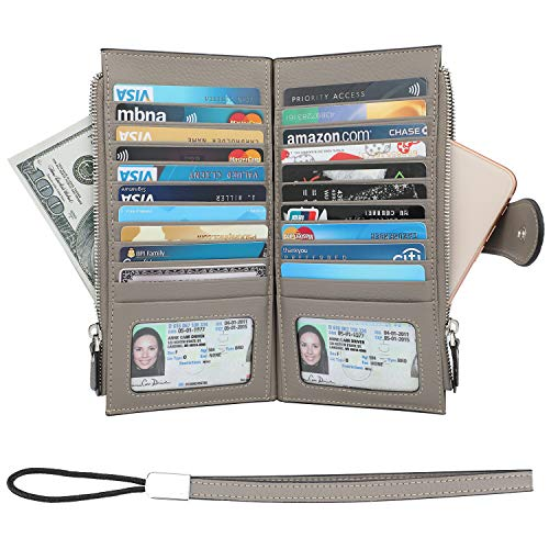 mens RFID Blocking Genuine Leather Bifold Multi Credit Card Wallet Holder with Zipper Pockets(Pebbled Gray) ()