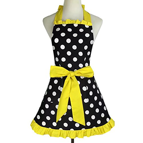 Aspire Kitchen Apron For Women Retro Polka Dots Cooking Aprons Cafe Working Aprons-Black -