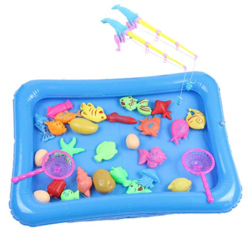 TANGON Magnetic Fishing Toys Game Set for Kids Water Table Bathtub Pool Party Fishin' Bath Toys with Pole Rod Net, Plastic Floating Fish - Toddler Education Learning Colors Ocean Sea