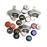 BottleOps Classic One Handed Stainless Steel Wall Mounted Bottle Opener - 3 Pack | For Kitchen, Man Cave, Basement, Boat, Game Room, Deck & More (3)
