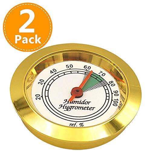 Humidor Hygrometer Analog 1.75 inch High Accuracy Mini Round Humidity Meter Gauge 2 Pack ()