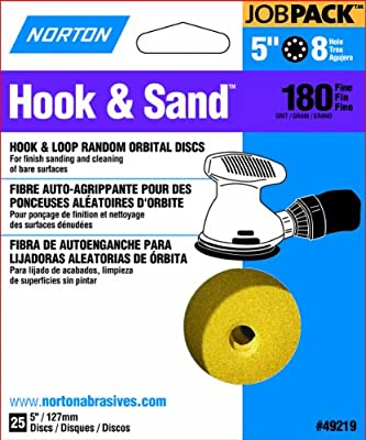 Norton 49219 5-Inch 8 Hole P180 Hook and Loop Discs, 25-Pack