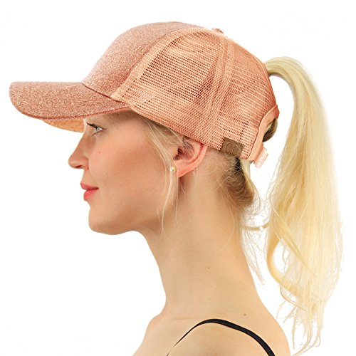 Rose Trucker Hat - C.C Ponytail Messy Buns Trucker Ponycaps Plain Baseball Visor Cap Dad Hat Glitter Rose Gold