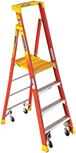 Fiberglass Podium Stepladder, 7 ft. Ladder Height, 4 ft. Platform Height, 300 lb.
