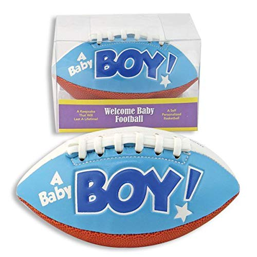 """IT'S A BOY"" FOOTBALL -BIRTH ANNOUNCEMENT/Keepsake/GIFT/BLUE - INCLUDES DISPLAY BOX/Shower/CHRISTENING/NEW BABY GIFT 5"" INCLUDES Plastic DISPLAY Box from K&G"