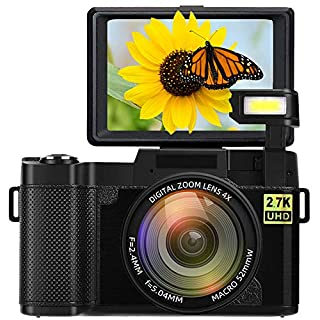 Digital Camera Camcorder Full HD 2.7K 24MP Video Camcorders Vlogging Camera 3.0 Inch 180 Degree Rotation Flip Up Screen Cameras for YouTube with Retractable Flash Light