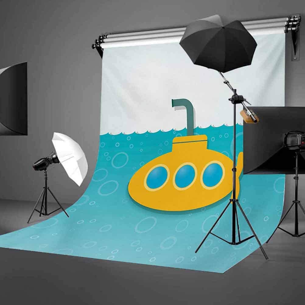 Yellow Submarine 6.5x10 FT Backdrop Photographers,Illustration of Submarine with Bubbles Below The Sea Pattern Background for Baby Birthday Party Wedding Vinyl Studio Props Photography