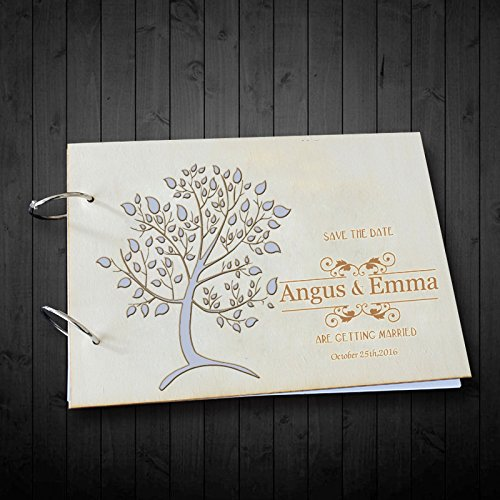 Vintage Wedding Guest Book Alternative Tree Hold Memories Photo Albums Personalized Bride and Groom Name and Date Wedding Scrapbook Paper 8 x 12 inches