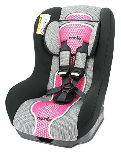 Nania Kinderautositz Kindersitz Maxim pop  ECE Gruppe 0 / 1  ab Geburt bis 18 kg  bis 10kg reboard nutzbar  rosa