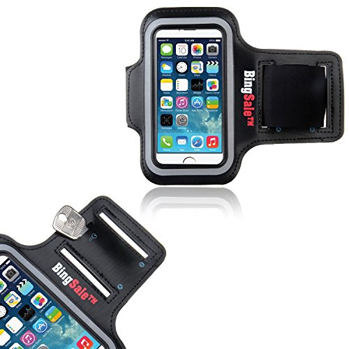 iPhone SE hülle, Bingsale Apple iPhone SE 5S 5C 5 Original Neoprene Deluxe Dual Fit Easy Fit Freizeit und Sport Armband Armtasche in Schwarz