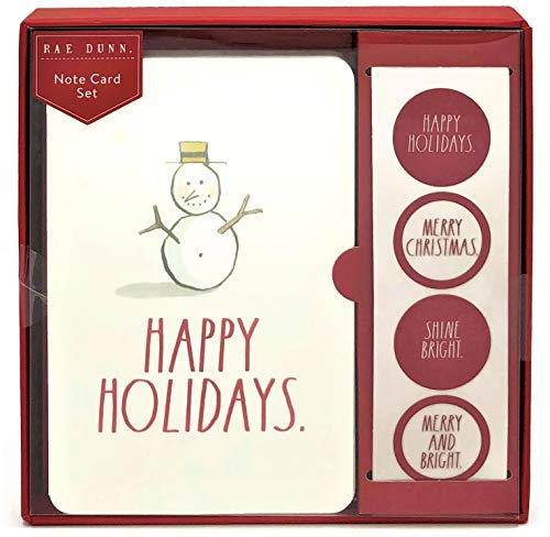Rae Dunn Christmas Greeting Note Card Set (Snowman Happy Holidays NCS19)