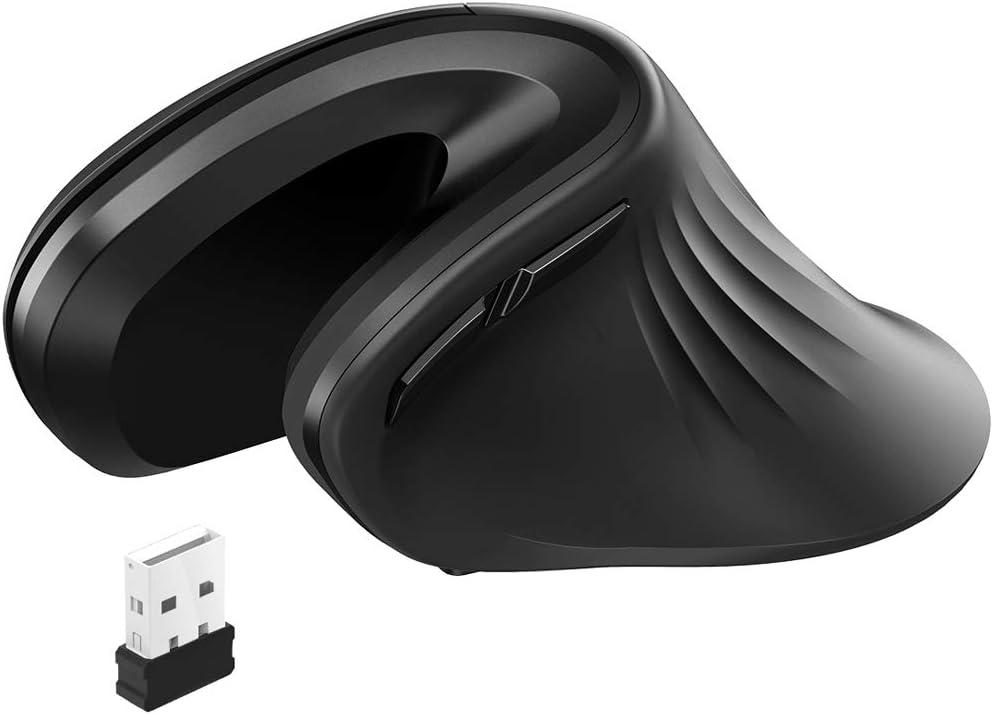 havit Ratón Inalámbrico Vertical Ergonómico 2.4 G óptico,Adecuado para Uso de Oficina a Largo Plazo, 3 Niveles Ajustables dpi, 6 Botones,para Windows, Mac, Linux y Otro(MS55GT, Negro)