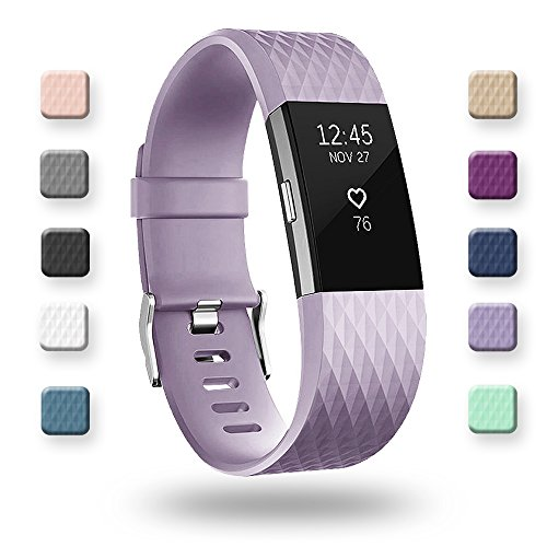 POY For Fitbit Charge 2 Bands, Classic & Special Edition Replacement bands for Fitbit Charge 2, Lavender Large