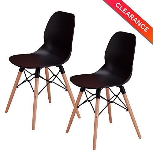 OTTITI Dining Chairs with Tufted Mid Century Modern Eames Style DSW Chair, Shell Lounge Plastic Chair for Kitchen, Dining, Bedroom, Living Room Side Chairs, 2 Set, (Mesh High Back Lounge Chair)